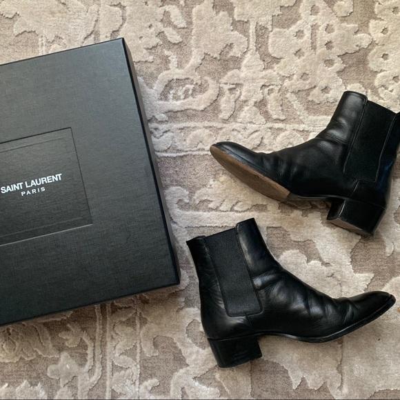 8fae52528b9 Saint Laurent YSL Wyatt Black Leather Ankle Boots
